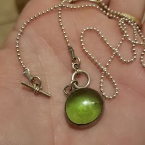 Unique sterling/Green stone necklace